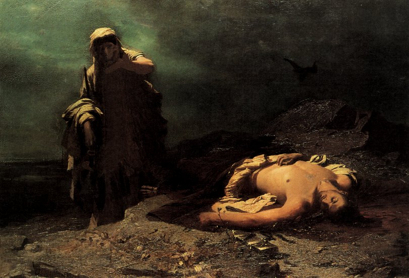 'Antigone in front of the dead Polyneices' by Nikiforos Lytras, 1865